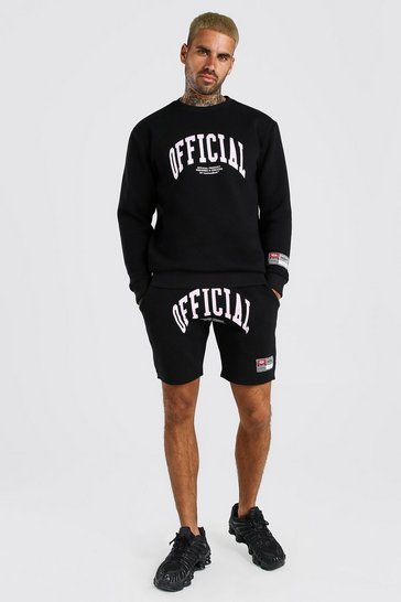 Black Loose Fit Official Print Short Tracksuit