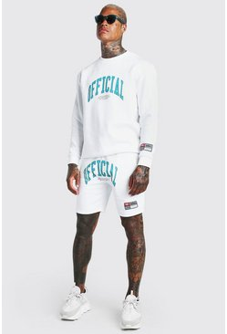 White Loose Fit Official Print Short Tracksuit