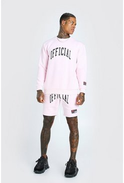 Pink Loose Fit Official Print Short Tracksuit