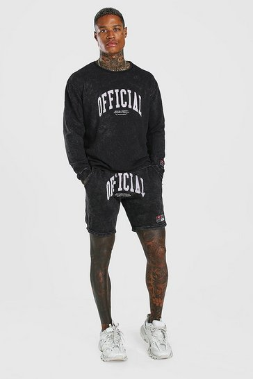 Charcoal grey Acid Wash Loose Fit Official Short Tracksuit