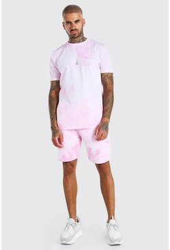 Light pink pink Tie-Dye Official MAN T-Shirt & Short Set
