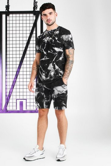 Black Tie-Dye Official MAN T-Shirt & Short Set