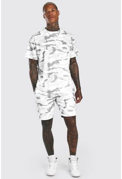 White Loose Fit Camo Cargo T-Shirt & Short Set