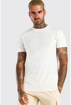 Ecru MAN Signature Embroidered T-Shirt