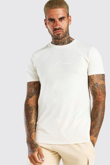 Ecru white MAN Signature Embroidered T-Shirt