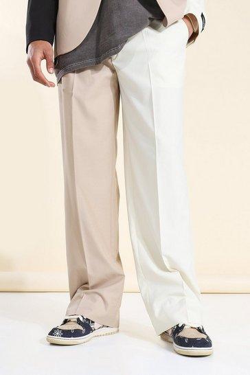 Brown Wide Leg Split Hem Cb Suit Trousers