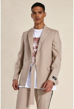 Brown Relaxed Wrap Tie Suit Jacket