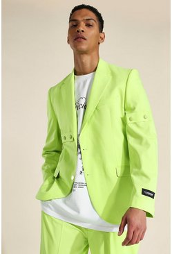Green Relaxed Buttoned Single Breasted Suit Jacket