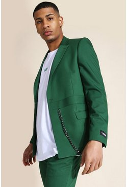 Dark green green Skinny Double Breasted Chain Suit Jacket