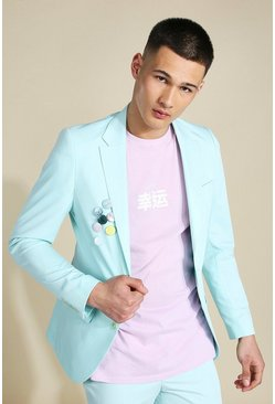 Skinny Badged Single Breasted Suit Jacket, Mint verde