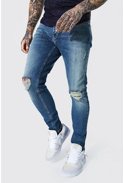 Vintage blue blue Skinny Stretch Exploded Knee Distressed Jean