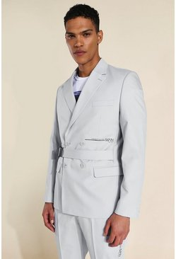 Slim Belted Double Breasted Suit Jacket, Grey gris