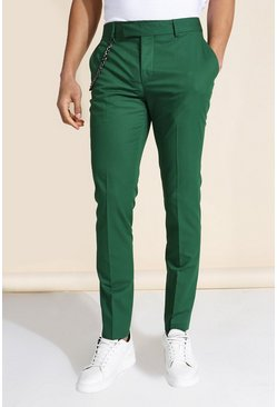 Skinny Chain Suit Trousers, Dark green grün