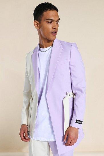 Lilac purple Skinny Cb Belt Suit Jacket