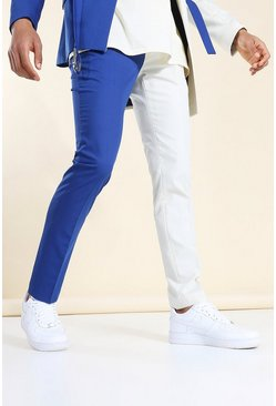 Navy Skinny Colourblock Strap Suit Trousers