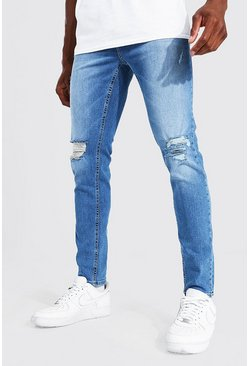 Mid blue blue Skinny Stretch Exploded Knee Distressed Jean