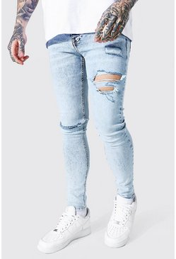 Ice blue Super Skinny Busted Knee Distressed Jean