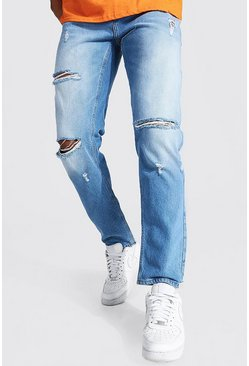 Mid blue blue Straight Leg Busted Knee Jean