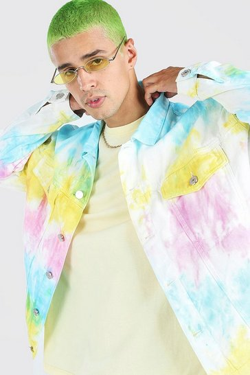 White Oversized Bright Tie Dye Denim Jacket