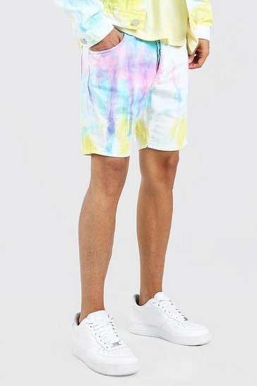 White Skinny Fit Bright Tie Dye Denim Shorts