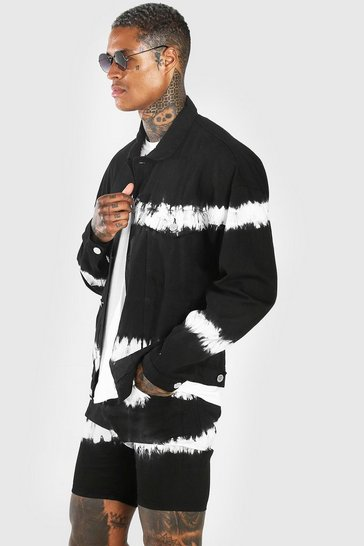 Washed black Oversized Tie Dye Denim Jacket