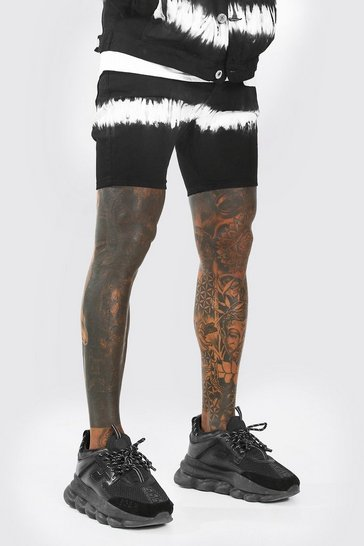 Washed black Skinny Fit Tie Dye Denim Shorts
