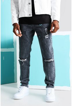 Charcoal grey Skinny Butterfly Print Jeans With Knee Rips