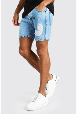Washed blue blå Skinny Fit Butterfly Print Denim Short