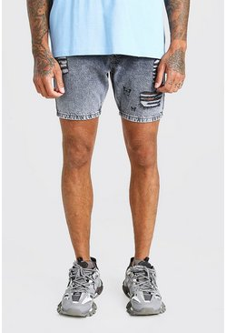 Light grey grå Skinny Fit Butterfly Print Denim Short