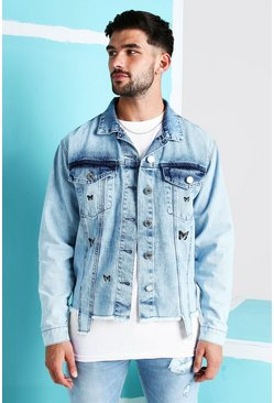 Light blue blue Loose Fit Denim Jacket With Butterfly Print
