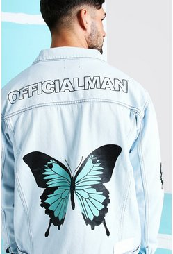 Light blue blue Loose Fit Butterfly Back Print Denim Jacket