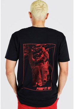 Black Oversized Astronaut Pump It Up Print T-Shirt
