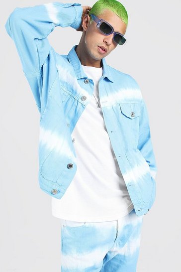 Powder blue blue Oversized Tie Dye Denim Jackets