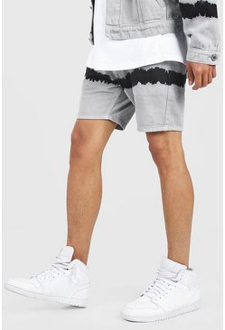 Ecru Skinny Fit Tie Dye Denim Short