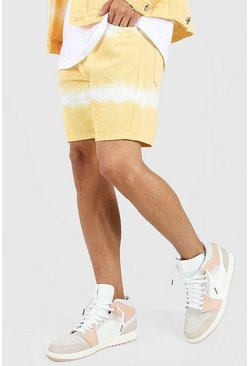 Pale orange Skinny Fit Tie Dye Denim Short