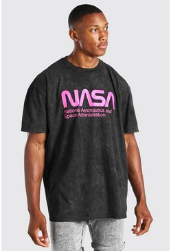 Charcoal grey Oversized Acid Wash NASA License T-Shirt