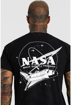 Charcoal grey Washed NASA Space Shuttle Print T-Shirt