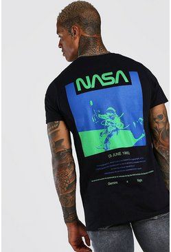Black NASA Astronaut Back Print License T-Shirt