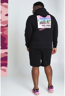 Black Big And Tall Homme Back Print Short Tracksuit