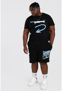 Conjunto de pantalones cortos y camiseta de graffiti MAN Big And Tall, Negro