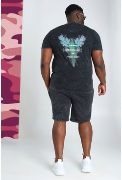 Charcoal grey Big And Tall Acid Wash Beetle Print Set