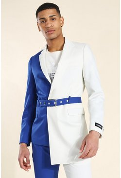 Skinny Colourblock Belted Suit
