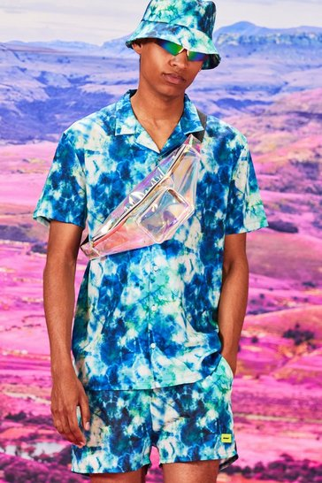 Blue Short Sleeve Revere Collar Tie Dye Shirt