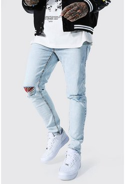 Ice blue Skinny Stretch Exploded Knee Distressed Jean