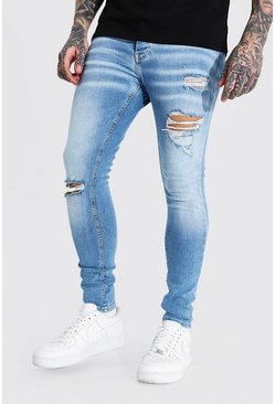 Light blue blå Super skinny jeans med slitage