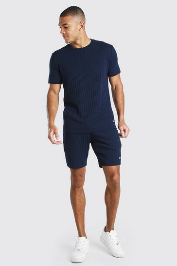Navy Stripe Knitted T-Shirt And Short Set With Tab