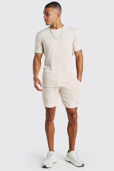 Taupe beige Stripe Knitted T-Shirt And Short Set With Tab