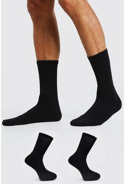 Black 2 Pack Plain Sport Socks