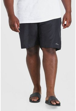 Black Plus Size MAN Signature Mid Length Swim Short