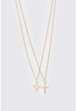 Gold metallic Double Layer Cross Pendant Necklace